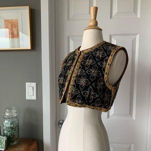 Vintage velvet & crystal crop vest